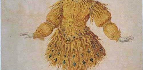 Dessin de costume du Ballet de la Nuit: Louis XIV dans le rôle du Soleil